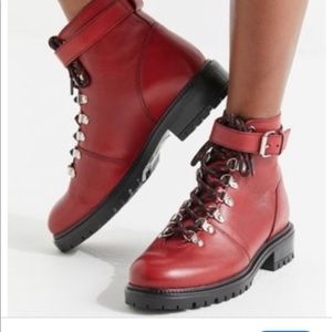 Red vegan leather hiker boots